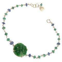 Green Jade Emeralds Sapphires 9 Karat White Gold Bracelet Handcrafted in Italy