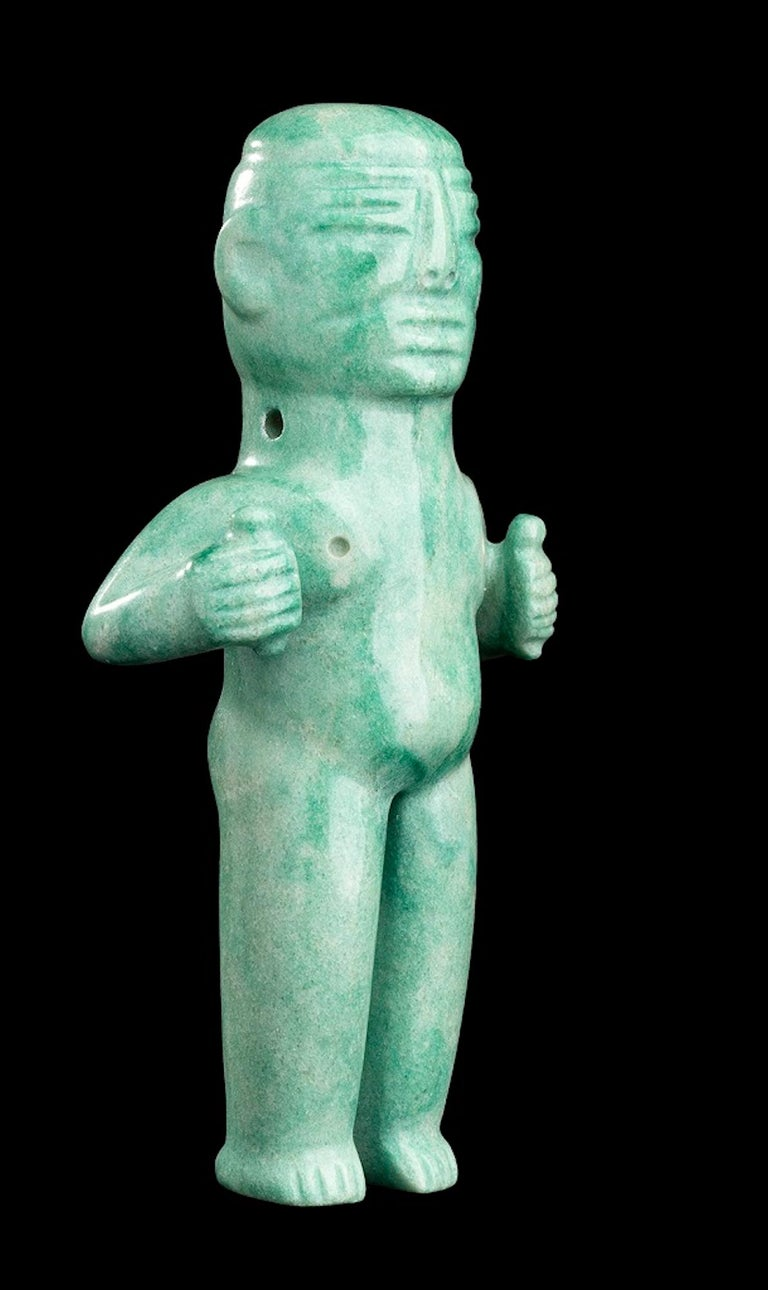 Green Jade Figure Olmec-Style, Mexico In Good Condition For Sale In Roma, IT