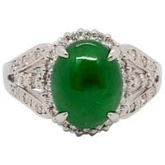 Green Jade Oval Cabochon and White Diamond Cocktail Ring in Platinum