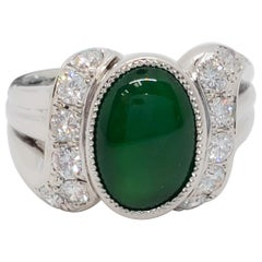 Green Jade Oval Cabochon and White Diamond Round Cocktail Ring in Platinum