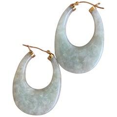 Green Jade Oval Shaped 14 Karat Gold Earrings