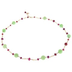 Green Jade Red Rubies White Pearls 9 Karat Rose Gold Choker Necklace Handcrafted