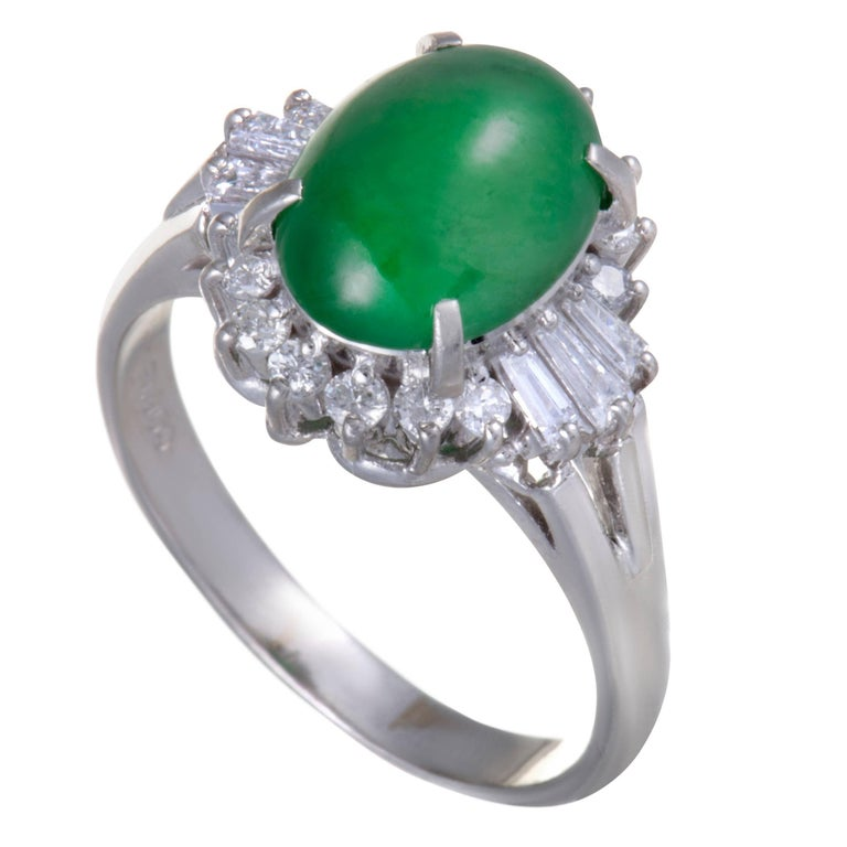 Green Jade Round and Tapered Baguette Diamond Platinum and Ring