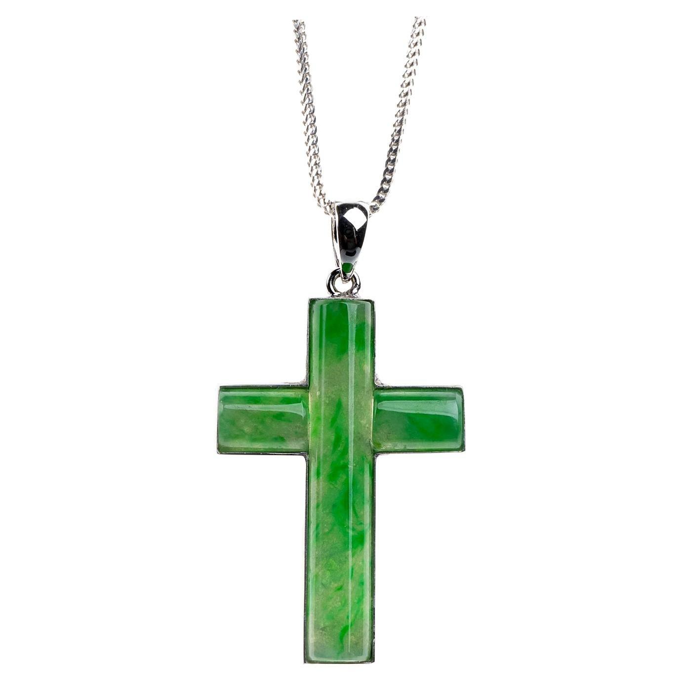 Green Jadeite Jade Cross Pendant, Certified Untreated