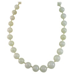 Green Jadeite Jade Graduated Single Strand Necklace 14k Gold Clasp GIA Report
