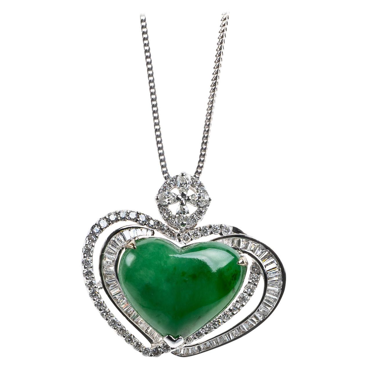 Green Jadeite Jade Heart Cabochon and Diamond Pendant, Certified Untreated