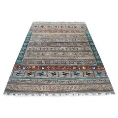 Green Kashkuli Design Super Kazak Pictorial Pure Wool Hand Knotted Oriental Rug