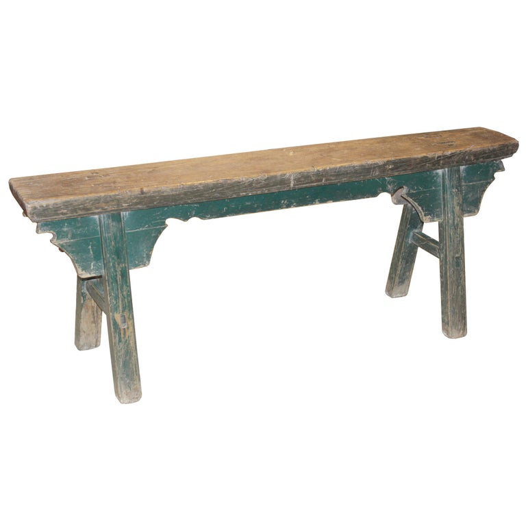 Kung fu bench originally used in martial art training for exercise. Use as seating at the end of the bed, in the dining room or as a skinny coffee table in front of sofa.