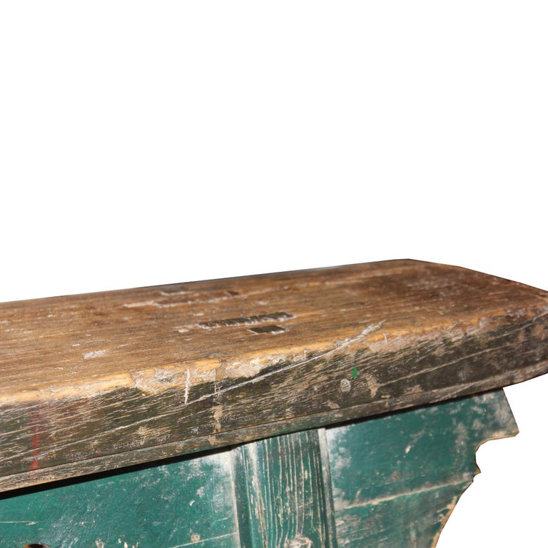 Early 20th Century Green Kung Fu Bench For Sale
