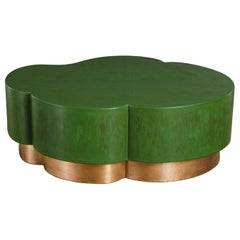 Green Lacquer and Brass Leaf Design Cocktail Table by Robert Kuo, Handmade