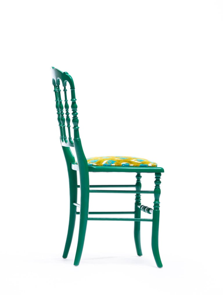 Green Lacquered Chiavari Side Chair with Peacock Feathers in Cut Velvet For Sale 6