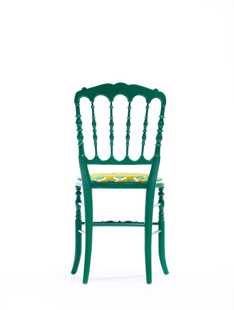 Green Lacquered Chiavari Side Chair with Peacock Feathers in Cut Velvet For Sale 7