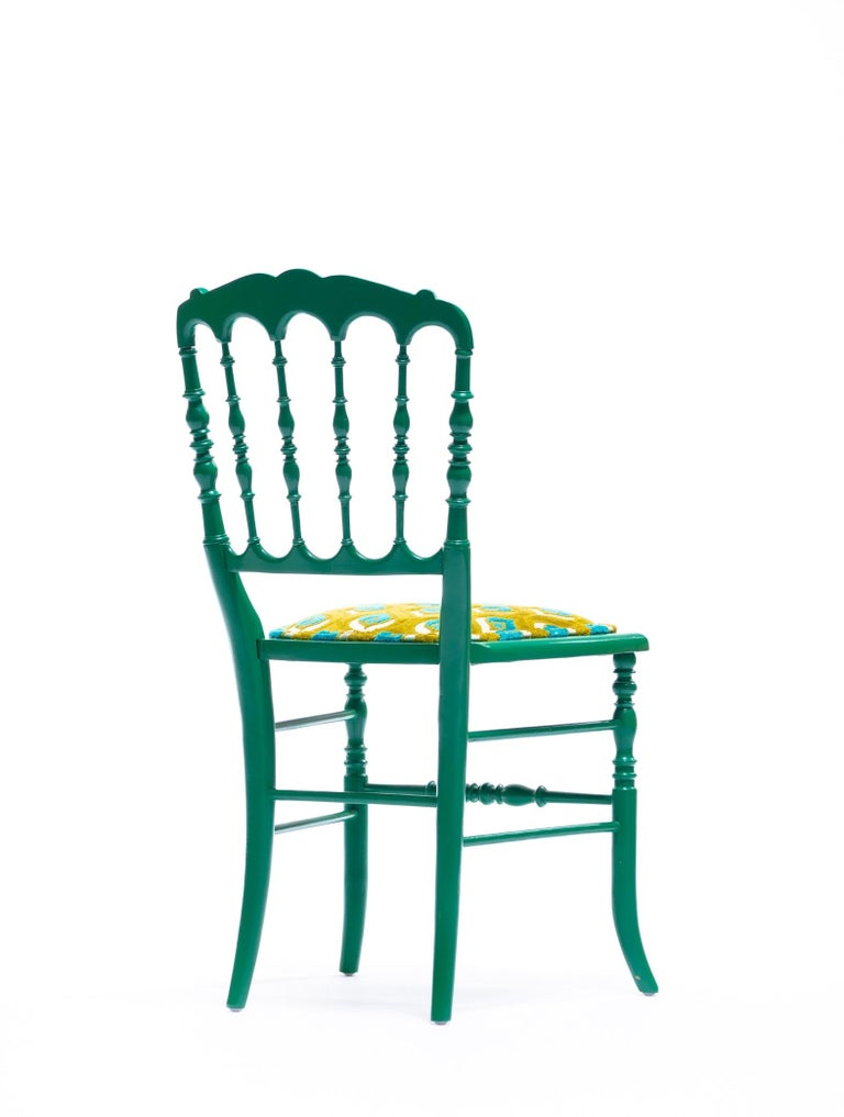 Green Lacquered Chiavari Side Chair with Peacock Feathers in Cut Velvet For Sale 8