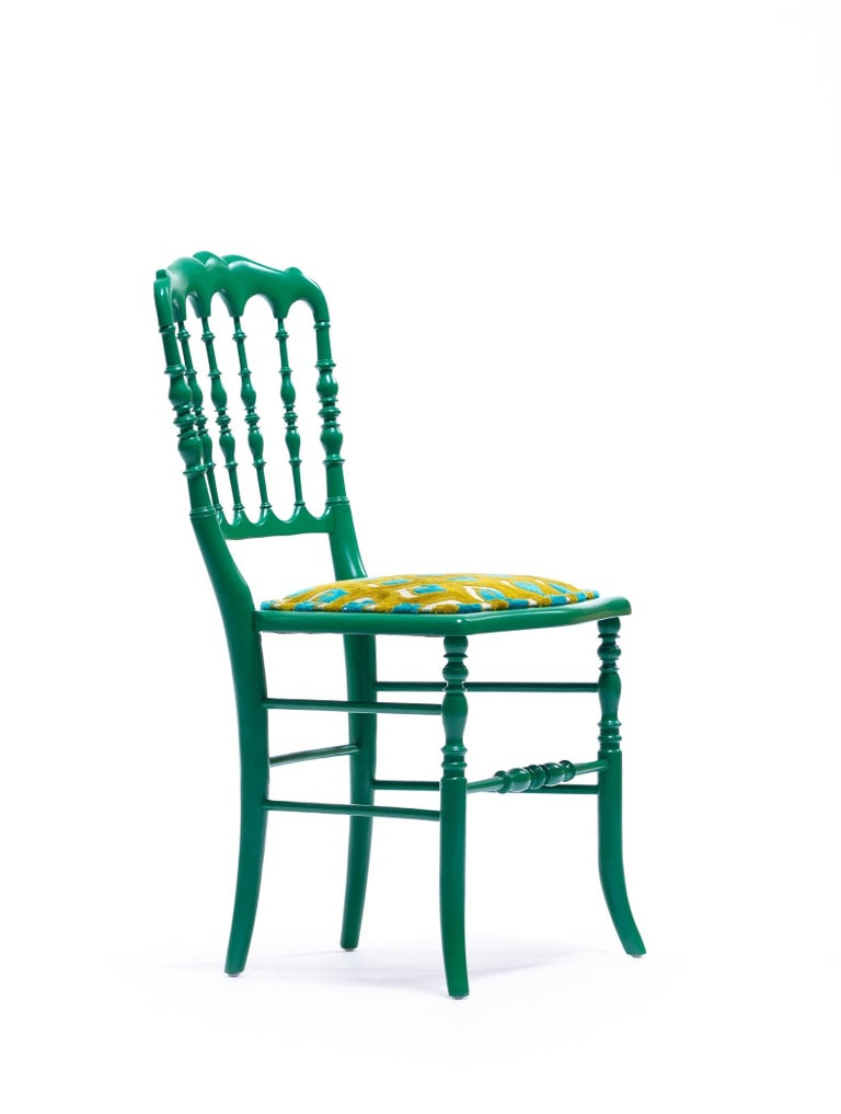 Green Lacquered Chiavari Side Chair with Peacock Feathers in Cut Velvet For Sale 9