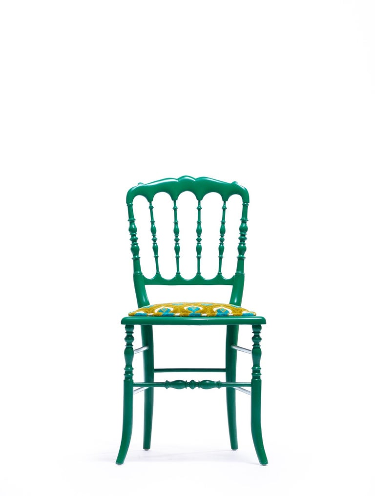 Green Lacquered Chiavari Side Chair with Peacock Feathers in Cut Velvet For Sale 10