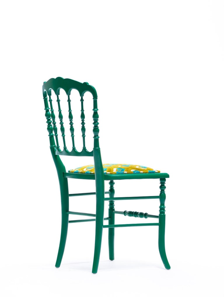 Green Lacquered Chiavari Side Chair with Peacock Feathers in Cut Velvet For Sale 11
