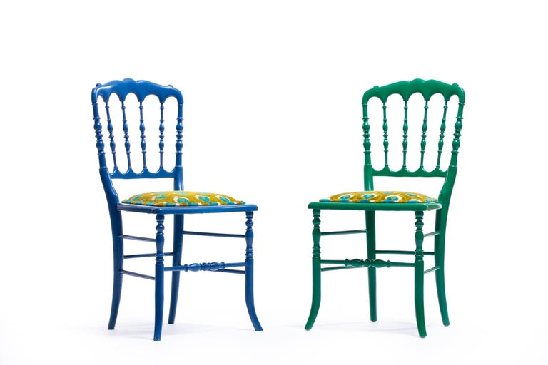 Green Lacquered Chiavari Side Chair with Peacock Feathers in Cut Velvet For Sale 12