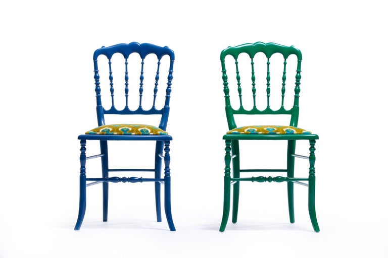 Green Lacquered Chiavari Side Chair with Peacock Feathers in Cut Velvet For Sale 13