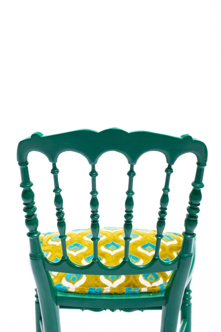 Italian Green Lacquered Chiavari Side Chair with Peacock Feathers in Cut Velvet For Sale