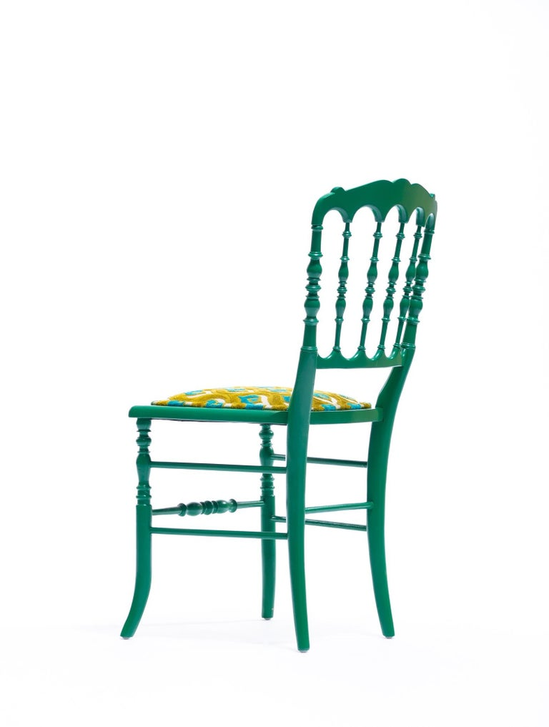 Green Lacquered Chiavari Side Chair with Peacock Feathers in Cut Velvet For Sale 3