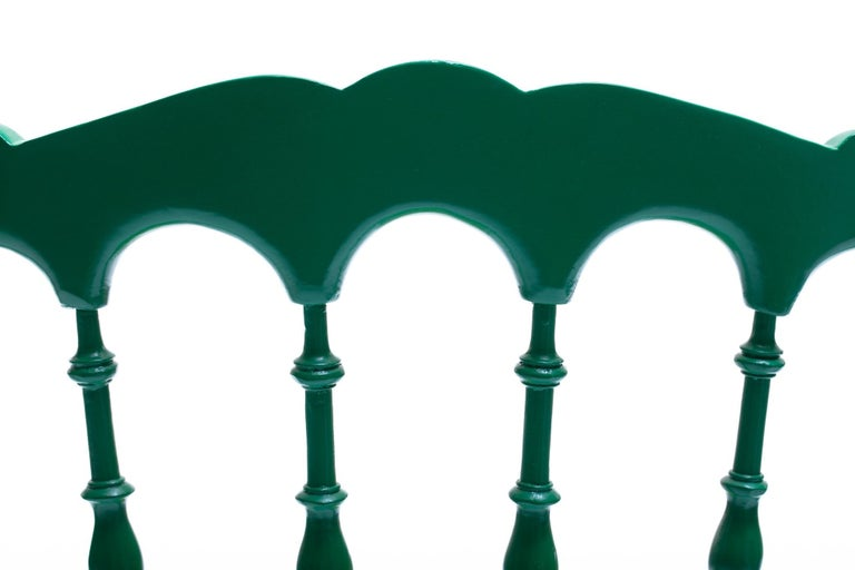Green Lacquered Chiavari Side Chair with Peacock Feathers in Cut Velvet For Sale 4