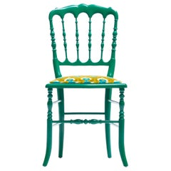 Green Lacquered Chiavari Side Chair with Peacock Feathers in Cut Velvet