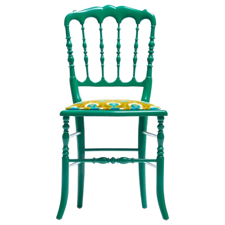 Green Lacquered Chiavari Side Chair with Peacock Feathers in Cut Velvet For Sale