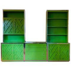 Green Lacquered Wall Unit by Henredon Furniture, 1970's, American