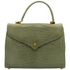 Green Lana Marks Crocodile Handbag