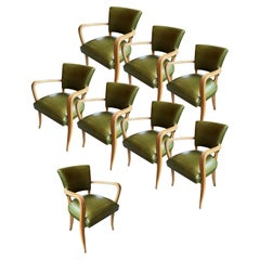 Green Leather Art Deco Armchairs, Set of 8
