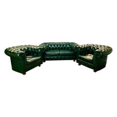 Green Leather Chesterfield Club Suite Armchair and Sofa from Chateau d'ax