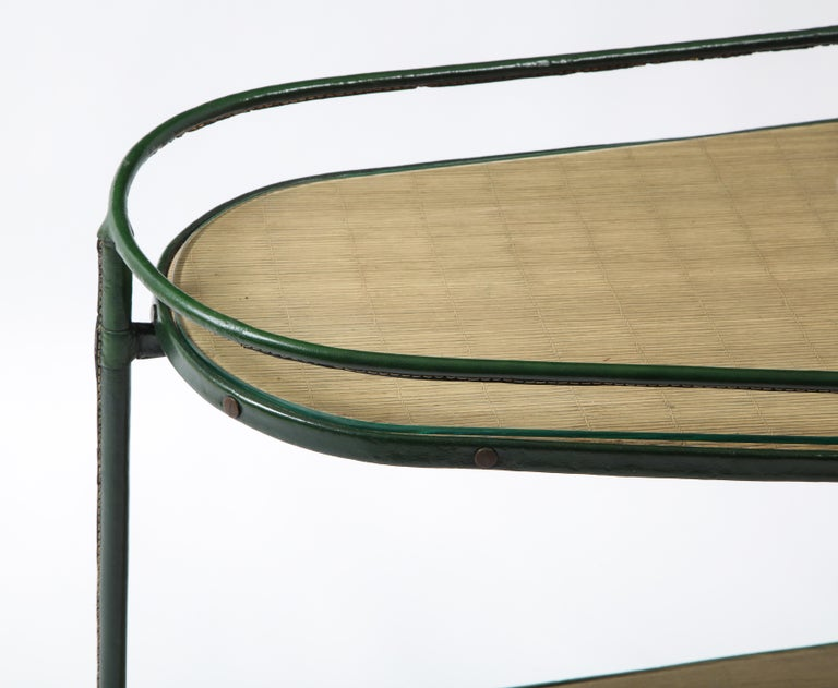 Green Leather Covered Bar Cart by Jacques Adnet, France, 1950s For Sale 3