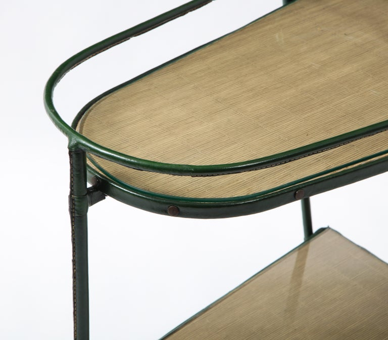Green Leather Covered Bar Cart by Jacques Adnet, France, 1950s For Sale 4