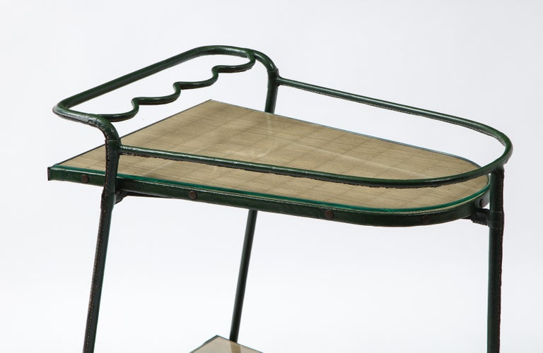 Green Leather Covered Bar Cart by Jacques Adnet, France, 1950s For Sale 5