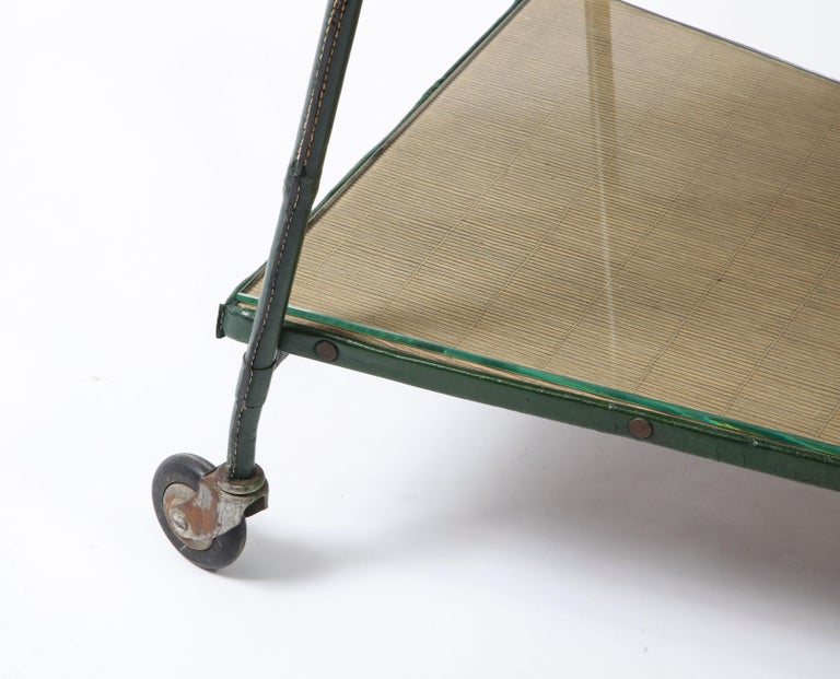 Green Leather Covered Bar Cart by Jacques Adnet, France, 1950s For Sale 6