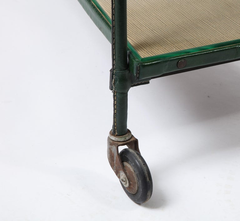 Green Leather Covered Bar Cart by Jacques Adnet, France, 1950s For Sale 7