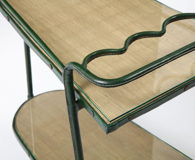 Green Leather Covered Bar Cart by Jacques Adnet, France, 1950s For Sale 8