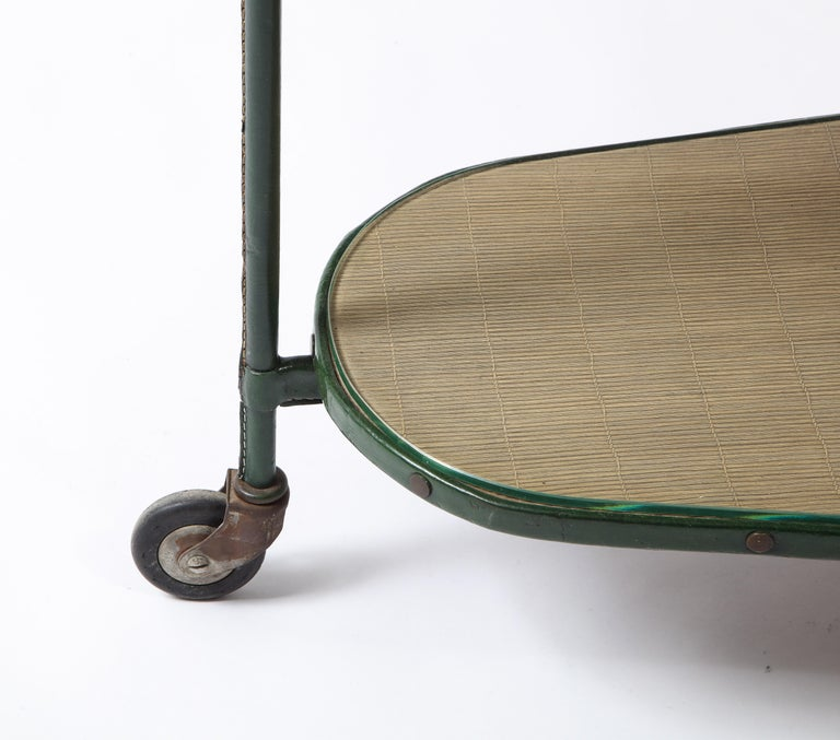 Green Leather Covered Bar Cart by Jacques Adnet, France, 1950s For Sale 9