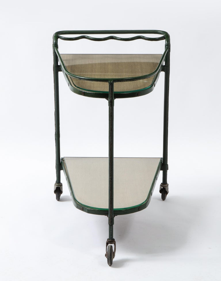 Mid-Century Modern Green Leather Covered Bar Cart by Jacques Adnet, France, 1950s For Sale