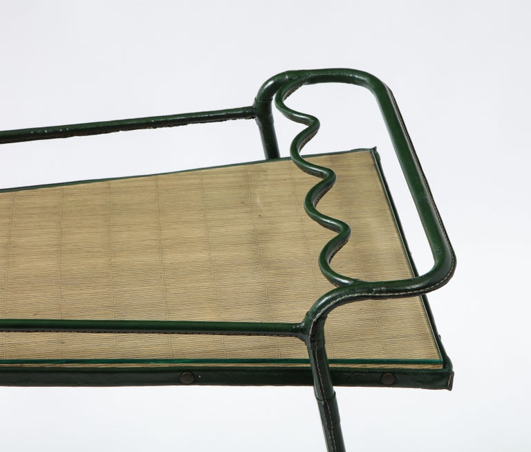 French Green Leather Covered Bar Cart by Jacques Adnet, France, 1950s For Sale