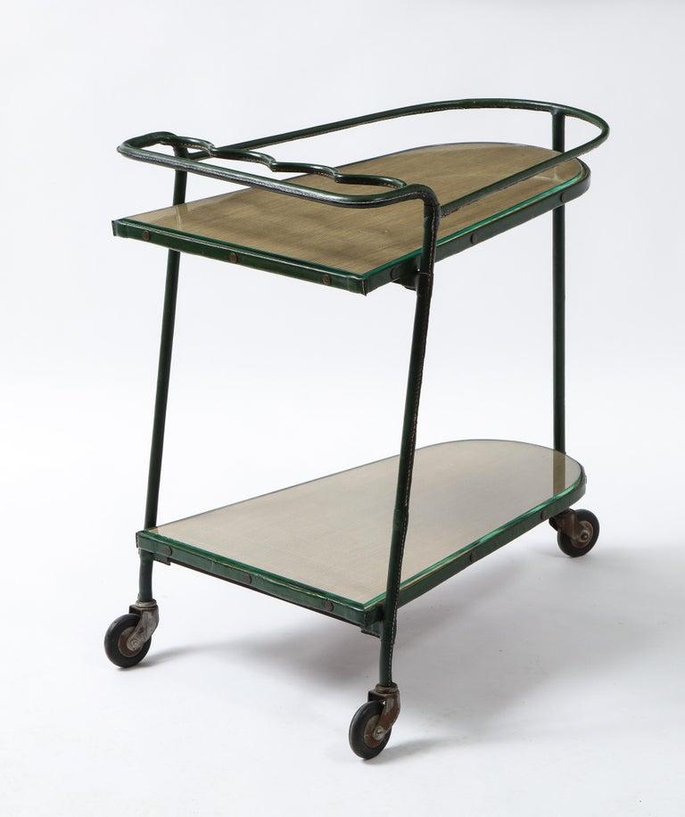 Green Leather Covered Bar Cart by Jacques Adnet, France, 1950s In Good Condition For Sale In New York, NY