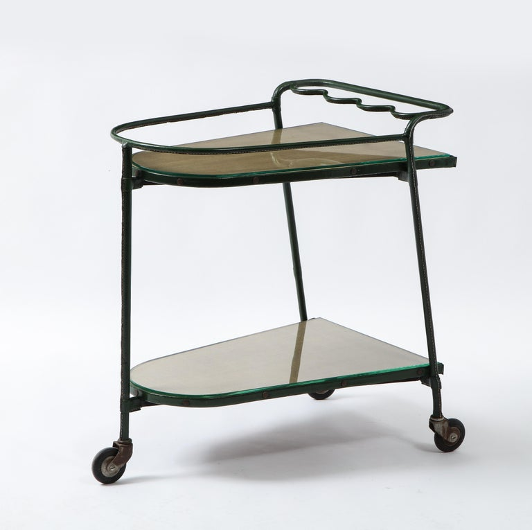 20th Century Green Leather Covered Bar Cart by Jacques Adnet, France, 1950s For Sale