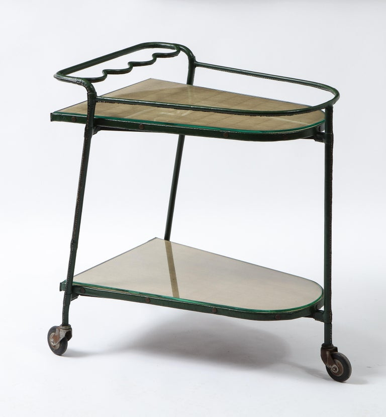 Brass Green Leather Covered Bar Cart by Jacques Adnet, France, 1950s For Sale