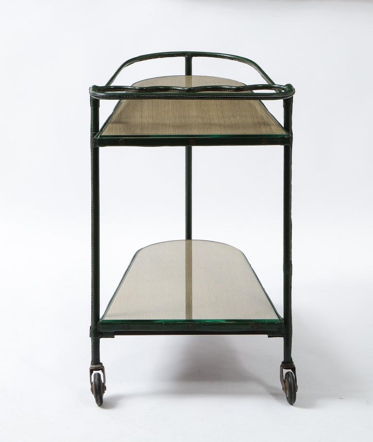 Green Leather Covered Bar Cart by Jacques Adnet, France, 1950s For Sale 1