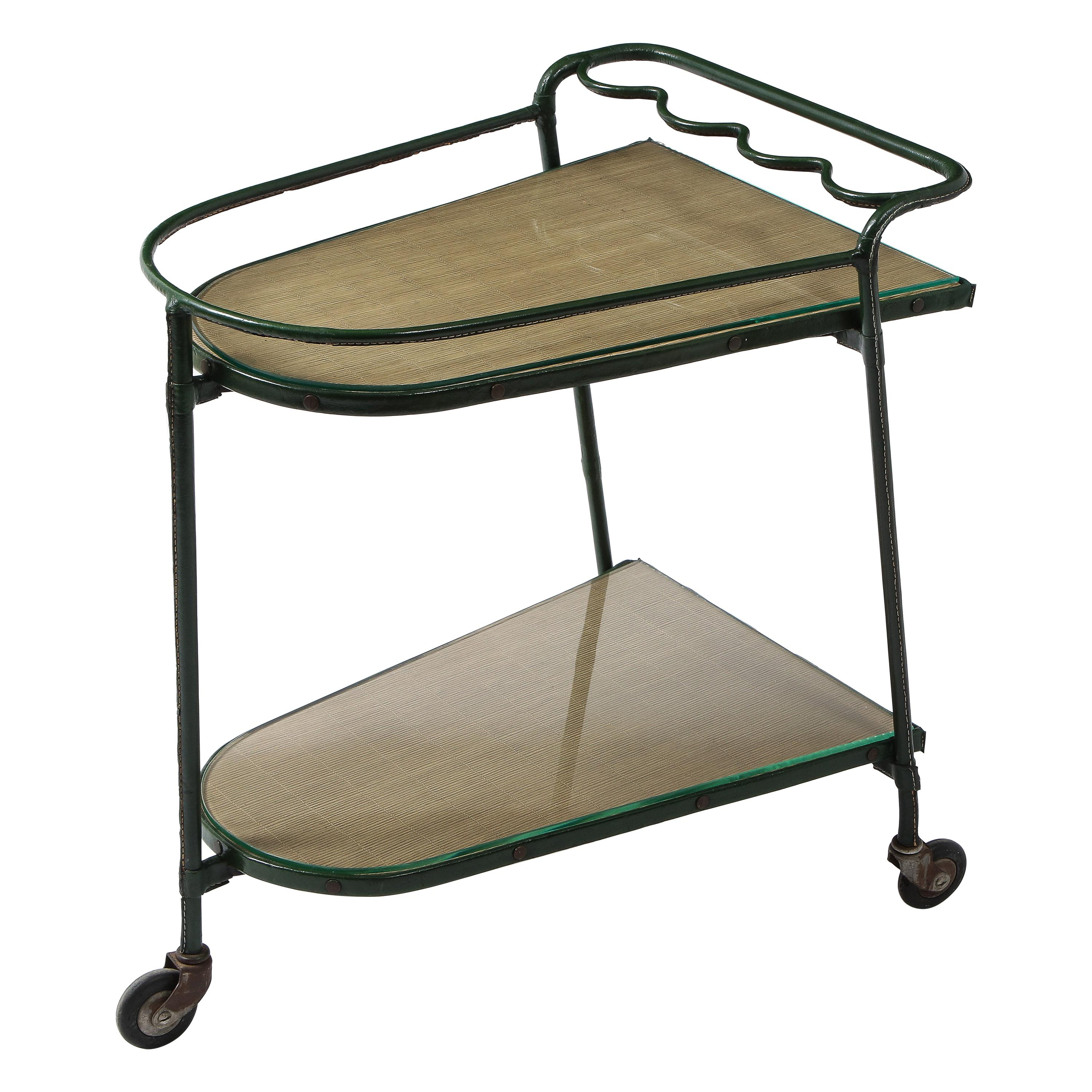 Green Leather Covered Bar Cart by Jacques Adnet, France, 1950s
