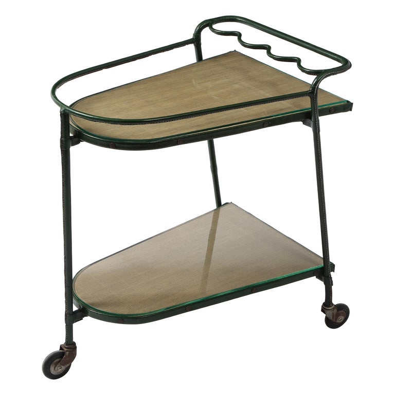 Green Leather Covered Bar Cart by Jacques Adnet, France, 1950s For Sale