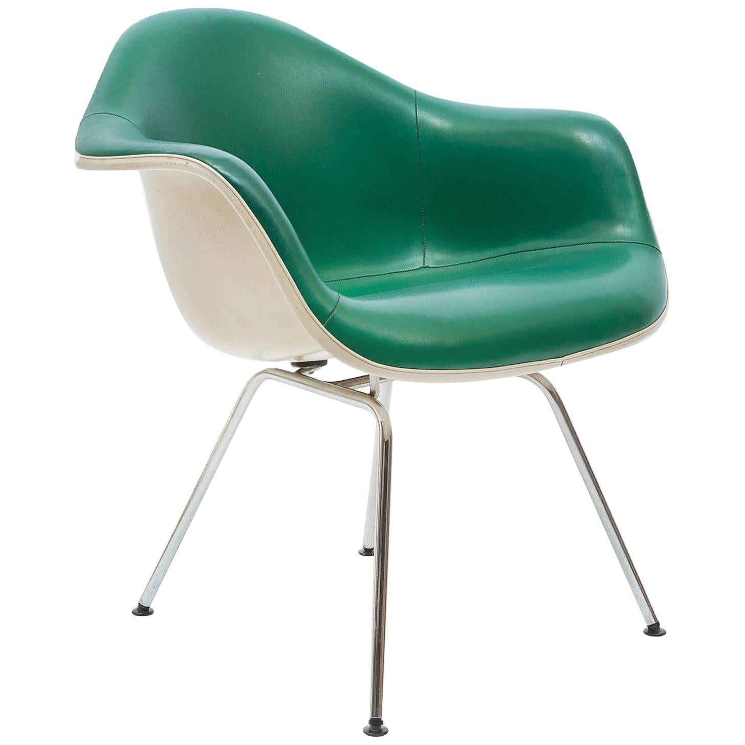 Green Leather 'Dax' Armchair by Charles & Ray Eames, 1960s