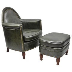 Green Leather Lounge Club Chair Armchair and Ottoman by Bradington Young