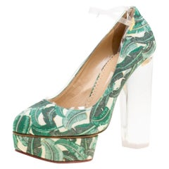 Green Leaves Printed Canvas and PVC Mabel Platform Pumps Size 39