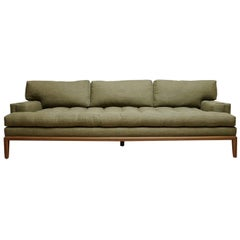 Green Linen and Walnut Forster Sofa by Lawson-Fenning